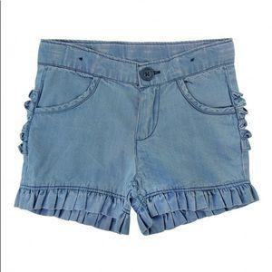 New Ruffle butts light wash blue denim shorts 3T